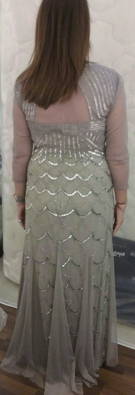 Espectacular Vestido De Fiesta Importado Re Glam Color Gris