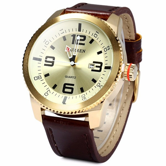 Relógio Masculino Curren 8180 Leather Strap - Importado