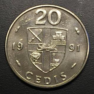 Gha003 Moneda Ghana 20 Cedis 1991 Unc-bu Ayff