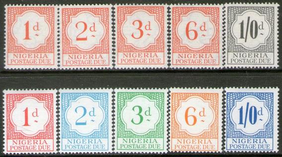 Nigeria 10 Sellos Nuevos Para Uso En Impuestos Años 1959-61