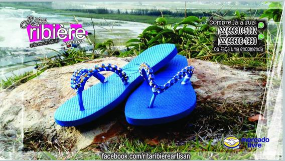 Sandália Havaianas Feminina Azul Decorada Artesanalmente