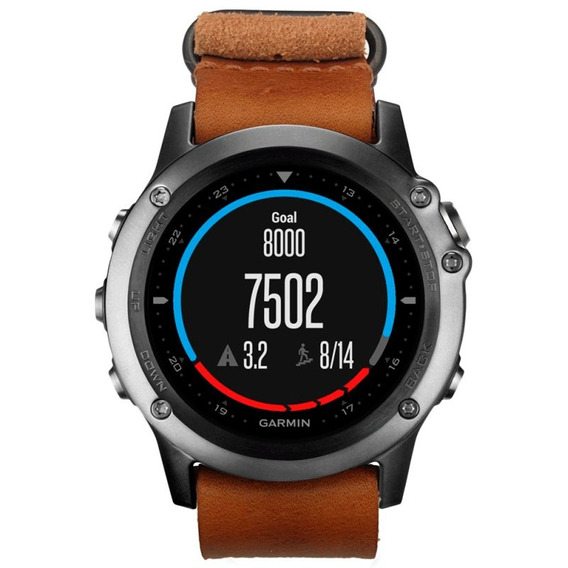 Relógio Esportivo Garmin Fenix 3 Safira Com Pulseira Couro N