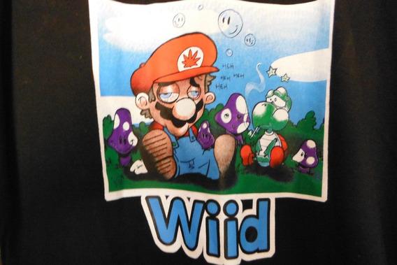 Camisa Playera Super Mario Bros Wiid Fun Shirt Negra Black
