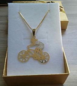Corrente Com Pingente De Bicicleta Banhado A Ouro 18k