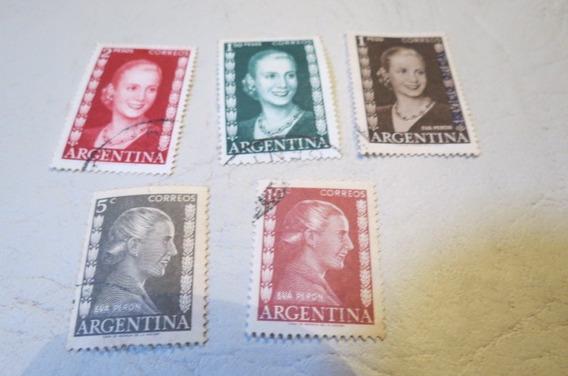 Lote De 8 Estampillas De Eva Perón Evita