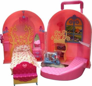 Casita De Muñecas Barbie Maletin Dormitorio Living Gloria