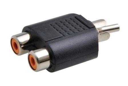 Adaptador Plug Rca Para 2 Jack Rca Preto Pacote 8 Unidades