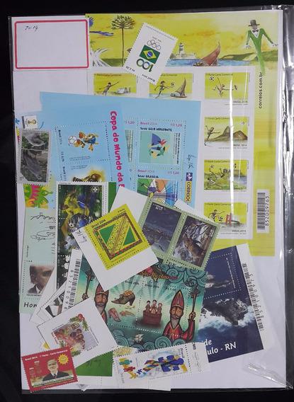 Brasil. Ano Completo 2014. 57 Selos + 4 Blocos Mint 250,00