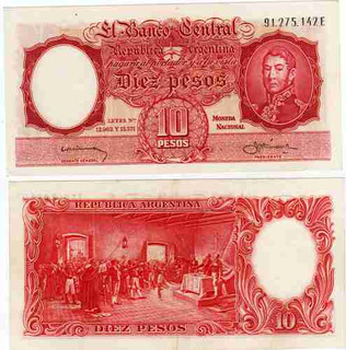 Billete 10 Pesos Moneda Nacional Bottero 1962 Sin Circular
