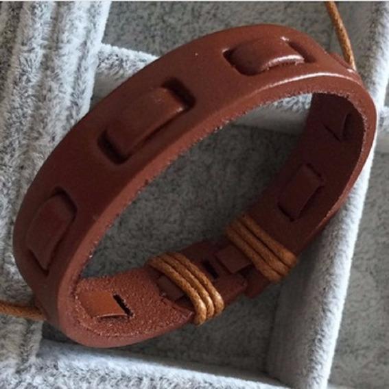 Pulseira Couro Legítimo Bracelete Masculino Homem Anel