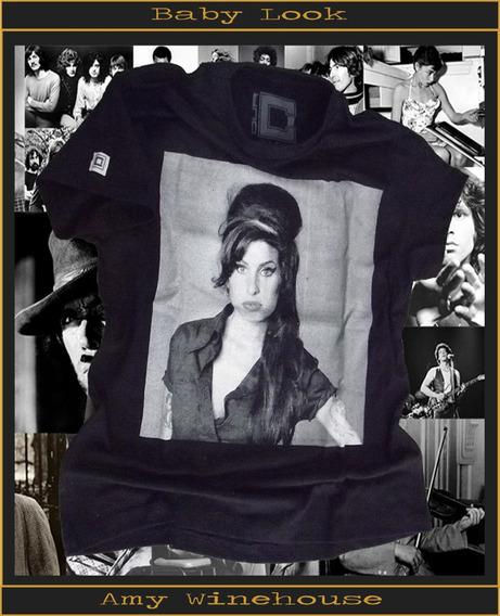 Camisa Camiseta Estampada Baby Look Masculina Amy Winehouse