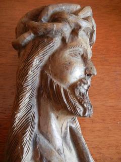 Antiguo Busto De Jesucristo Tallado En Madera