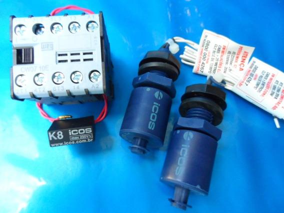 2 Sensor Nível Água Vertical+ Filtro+ Cont110v Eicos Lc26m40