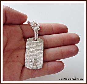 Cordão Cadeado 4,0mm 65cm Com Pingente São Jorge, Prata 950