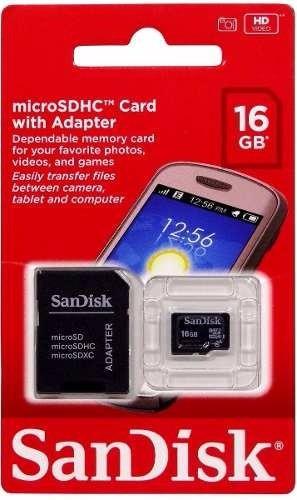 Imagem 1 de 2 de Cartão De Memória Micro Sd 16g Sandisk = Adaptador
