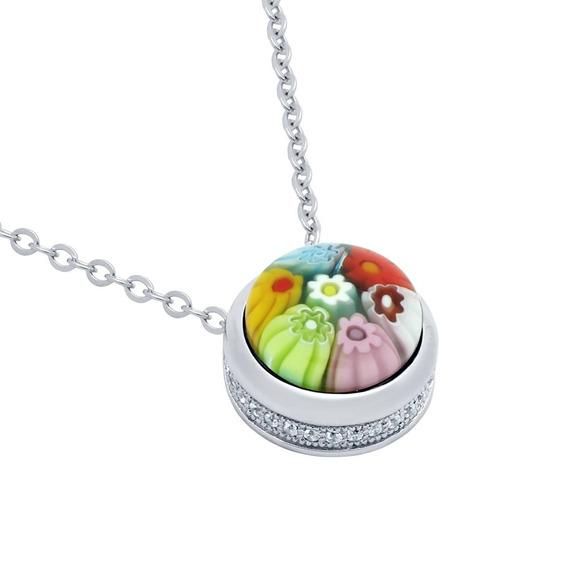 Multicolor Millefiori Round Cabochon Necklace