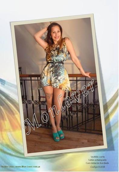 Vestido De Seda Estampada .