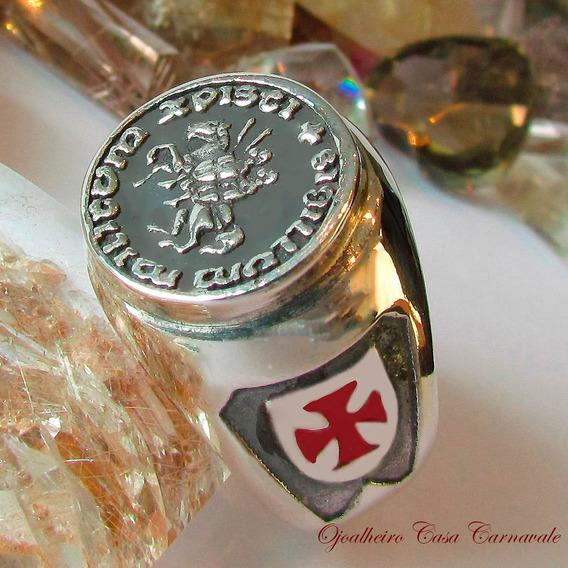 Anel Templario Cruz Esmaltada Em Prata Maciça Ojoalheiro