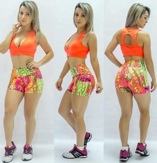 Kit 5 Shorts Fitness Estampado Curto Suplex De Poliamida