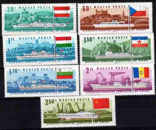 7 Estampillas De Hungria Tema Barcos Y Banderas Año 1967