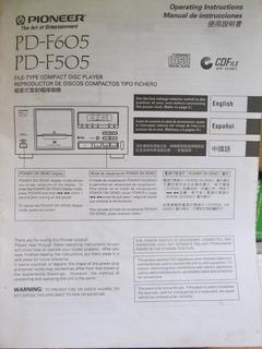 Manual De Instruções Em Espanhol Cd Player Pioneer Pd-f605