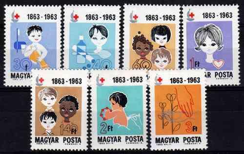 7 Estampillas Hungria Centenario De La Cruz Roja Año 1963