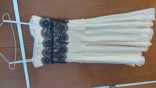 Vestido Rodilla Blanco Crema Encaje Strapless Fiesta