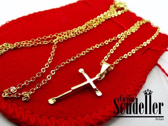 Corrente Veneziana Crucifixo Masculina Banhado Ouro 18k