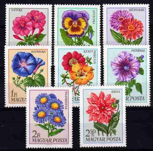 8 Estampillas De Hungria Tema Flores Año 1968