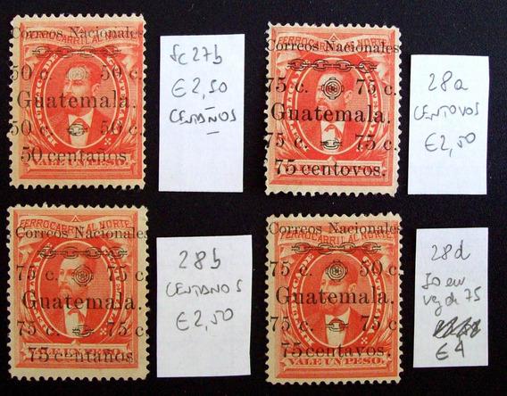 Guatemala - Lote 6 Sellos C-error En Sobrecarga Mint L1704