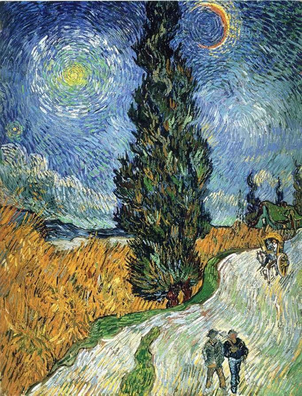 Gravura Poster Hd 65x95cm Van Gogh Obra Road With Cypresses