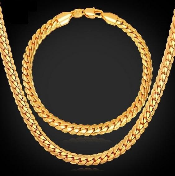 Conjunto Corrente + Pulseira Banhadas Em Ouro 18k 3 Camadas