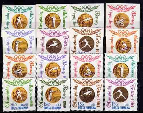 16 Estampillas Rumania Juegos Olimpicos Sin Dentar Año 1964
