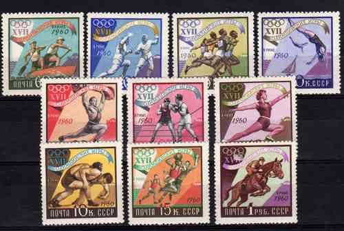 10 Estampillas De Rusia Juegos Olimpicos De Roma Año 1960