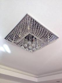 Lustre Cristal Plafon Quadrado 40x40x20cm