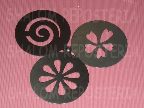 * Kit 3 Estenciles Acero Pastel Azucar Cupcak Cafe Canela