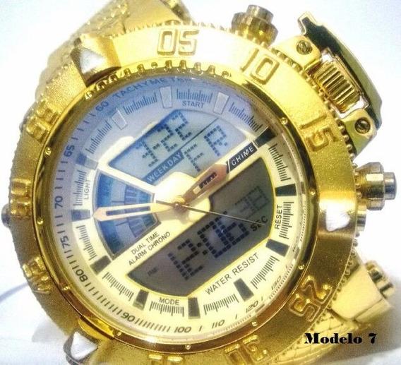 Relógio Dourado Masculino Aço - Promoção Estoque Esgotando