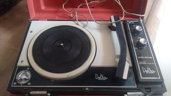 Vitrola Antiga Vintage Delta Maleta No Estado, Não Funciona