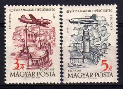 2 Estampillas De Hungria Aereas Aviones Año 1958
