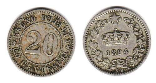 Moneda De Italia Año 1894 De 20 Centesimi Muy Buena