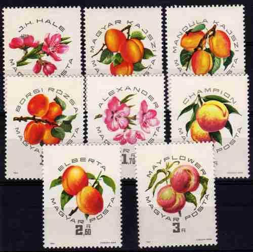8 Estampillas De Hungria Tema Frutos Año 1964