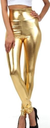 Leggings Talle Alto Metálicos Dorado Tallas Xs. Ch. M. G