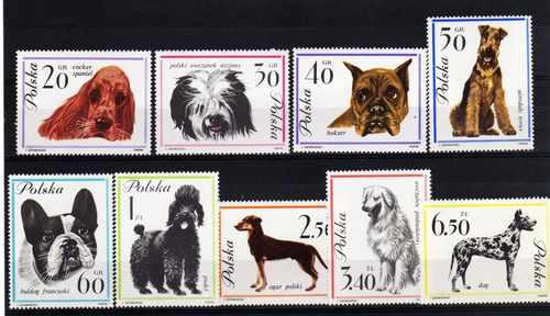 9 Estampillas De Polonia Tema Perros Año 1963