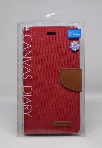 Funda Redmi Note 2 Mercury Goospery Canvas Diary Rojo