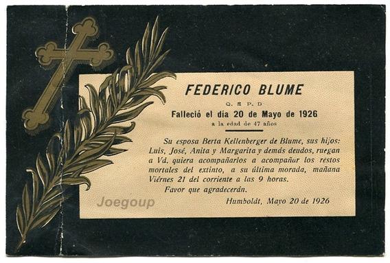 Antigua Tarjeta Funebre Blume Humboldt Santa Fe 1926