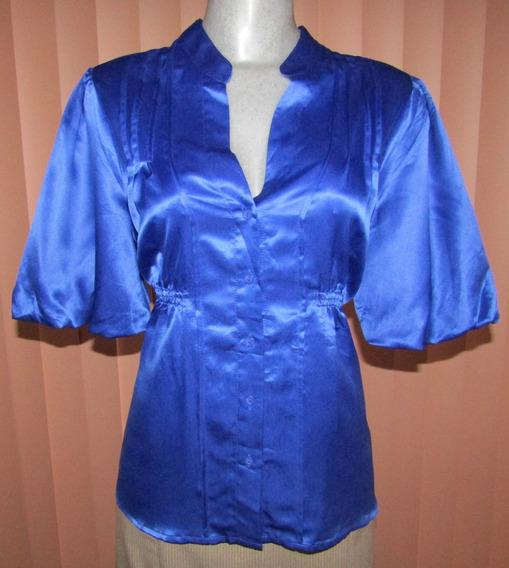 Blusa Satinada De Vestir Talla M/g Azul Rey
