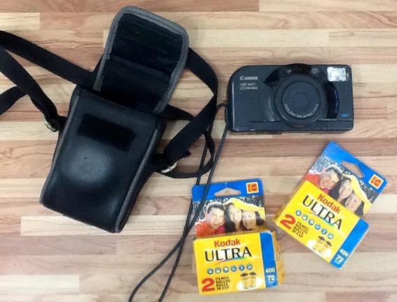 Câmera Fotográfica Antiga Canon Com Filmes Kodak