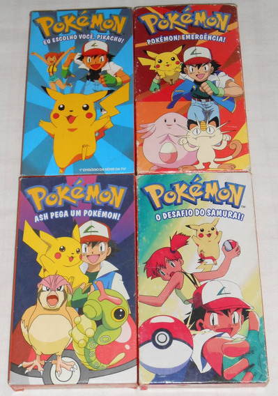 Lote C/4 Vhs Pokemon Com Os 4 Primeiros Episódios Do Anime