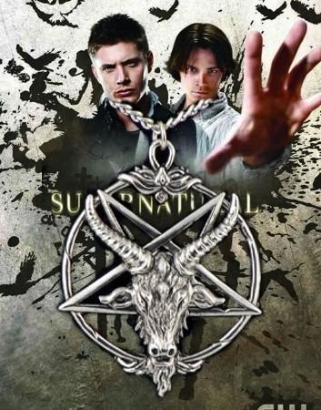 Corrente Supernatural Sam E Dean Amuleto Proteção Baphomet