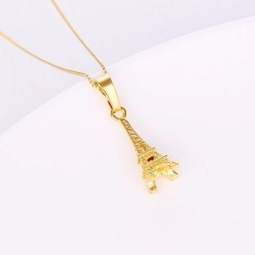 Corrente Com Pingente Torre Eiffel Folheada Ouro